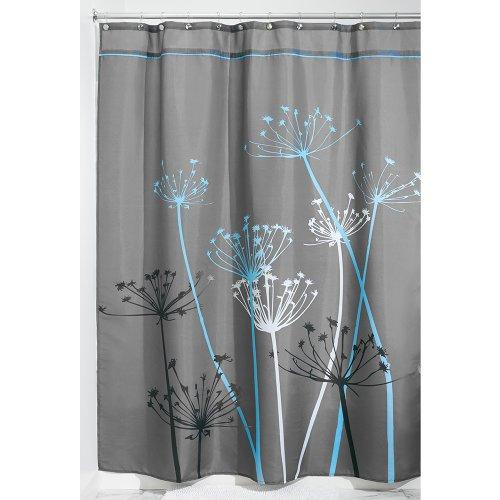 Duschvorhang mit Blumen-Motiv, Stoff, grau/blau, 180,0 cm x 200,0 cm ()