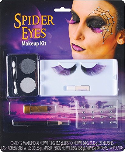shoperama Halloween Schmink-Set mit Wimpern Strass Glitter Vampir Hexe Spinne Schminke Make-up Kit, Namen:Spider Eyes