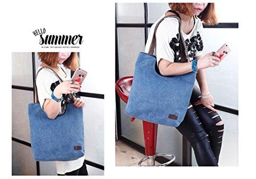 Fansela Handtasche Damen Freizeittasche Schultertasche Frauen Bag elegante Tasche Canvas Shoulder Bag Braun Dunkelblau