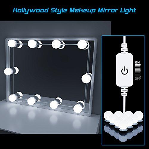 Led Spiegelleuchte, Hollywood Stil 10 Dimmbar Schminklicht 6000K Make Up Licht, Schminktisch Leuchte, Schminkleuchte, Spiegellampe für Kosmetikspiegel, Schminktisch/Badzimmer Spiegel