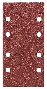 Bosch 2609256A80 Feuilles abrasives pour Ponceuses vibrantes 93 x 185 Nombre de trous 8 Grain 40 Lot de 10 feuilles
