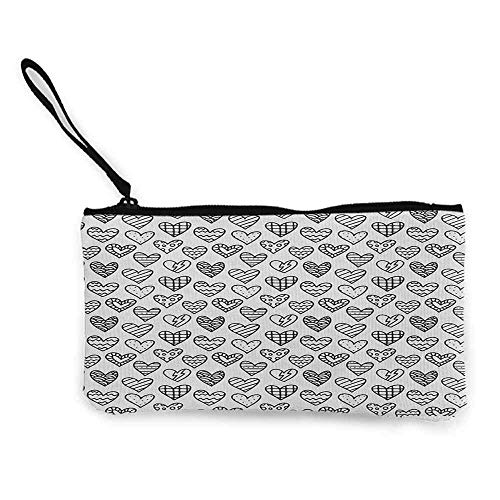 TTmom Damen Leinwand Geldbörse Portemonnaie Geldbeutel,Valentine`s Day Black and White Pattern with Outline Doodle Hearts Romantic Love Theme Wallet Coin Purses Clutch W 8.5