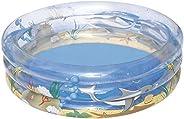 Bestway 51045 - Piscina Sea Life Trasparente a 3 Anelli, 150 x 53 cm, Multicolore