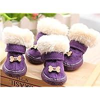 WSS Cane di animale domestico resistente anti-scivolamento scarpe per autunno/inverno neve stivali scarpe . 4 . purple bone