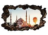 3D Wandtattoo Istanbul Moschee Türkei Skyline Wand Aufkleber Wanddurchbruch sticker selbstklebend Wandbild Wandsticker Wohnzimmer 11P253, Wandbild Größe F:ca. 140cmx82cm