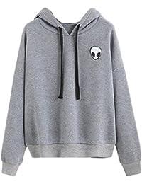 Bettydom Sweat-shirt à Capuche Manches Longues Femme Pulls Manteau Hoodie Imprimé