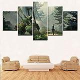 wangpdp Encadré Modulaire HD Imprimé sur Toile Affiche 5 Pièce Nier Automata 2B Jeu Paysage Art Peinture Home Decor Salon Chambre Mur Photos