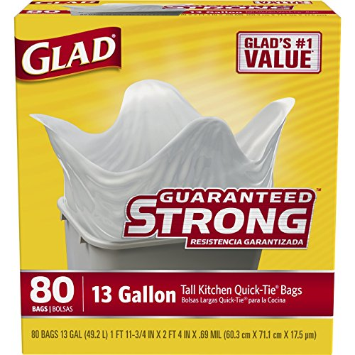 Glad Tall Kitchen Quick-Tie Trash Bags, 13 Gallon, 80 Count by Glad (13 Gallone Küche Mülleimer)