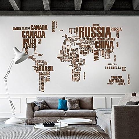 Mapa del mundo vinilo adhesivo removible vinilo adhesivo para pared mapa mapa de pared con nombres de países mapa del mundo pared adhesivo salón arte decoración, vinilo, marrón,