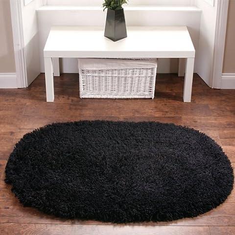 Think Rugs alfombra Oval de pelo de arcoíris, Negro, 75 x 135 cm