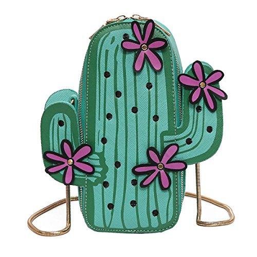 Yy.f Nuove Borse Cartone Animato Cactus Borsa A Tracolla Multiuso Il Sacchetto Chain Sacchetto Solido Green