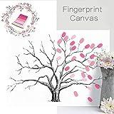 Jcsdhly Fingerabdrücke Baum, Kreativ DIY Gast Unterschrift Einloggen Buch, Leinwand Fingerabdrücke Baum Gemälde für Hochzeit Geburtstag Party mit 4 Farbe Tinte Pads