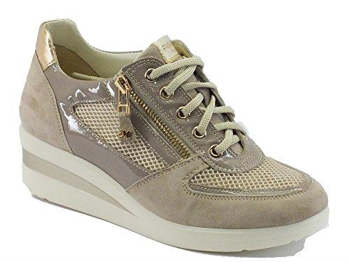 Sneakers Melluso Walk in nabuk e vernice colore corda Corda