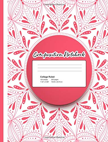 Composition Notebook:: Mandala Notebook for Girls 7.44x9.69 70 Wide Ruled Pages