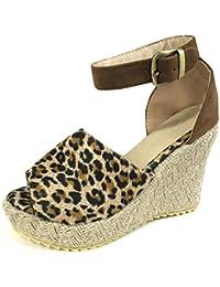 075a7c66f76 Minetom Mujer Sandalias Alpargatas Chancletas De Tacón Alto Plataforma Cuña  Playa Zapatos De Verano Hebilla Espadrille