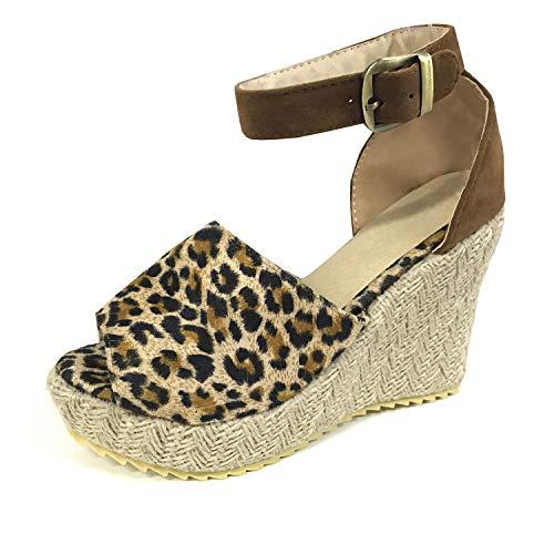 Minetom Mujer Sandalias Alpargatas Chancletas De Tacón Alto Plataforma Cuña Playa Zapatos De Verano Hebilla Espadrille Leopardo EU 37