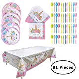 SUNSHINETEK Licorne Party Supplies 81 Pcs jetables Aucun Article de Vaisselle de fête d'anniversaire de Licorne pour 16 invités (9 Pouces, Assiettes, Couteaux, Serviettes, nappes)