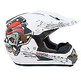 Casque De Motocross Les Enfants Des Gamins Visage Complet Casque De Moto Adulte Hors Route Moto VéLo ATV/MX/BMX/DH/Enduro/MTB Casque D.O.T Certifié(Motif Blanc + CrâNe),L