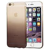wortek Designer High Quality TPU Silikon - Case für iPhone 6 Plus / 6S Plus Schutz Hülle Halb Transparent Farbverlauf Schwarz