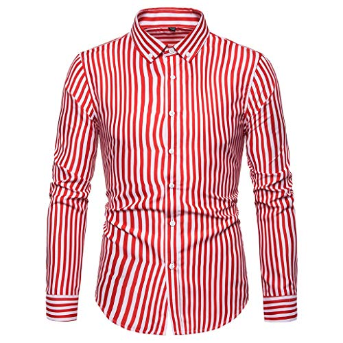 YU'TING ☀‿☀ Camicie da Cerimonia da Uuomo, Manica Lunga Camicia a Righe per Uomo Autunno Primavera Camicie Casual con Turn-Down Colletto Moda Slim Fit Camicia Shirts Tops con Pulsante