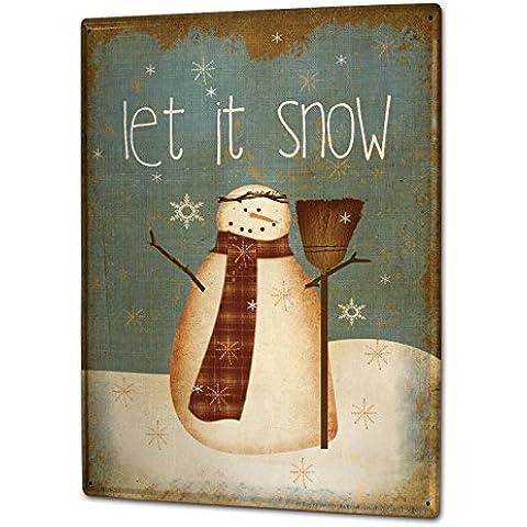 Cartel Letrero de Chapa XXL Retro Muñeco de nieve