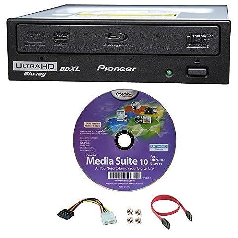 Pioneer 16x Bdr-211ubk Graveur interne Blu-ray BDXL Ultra HD 4K dans l'emballage, Bundle avec Cyberlink logiciel de gravure et câble Accessoires