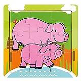 BINO 88017 - Holz-Puzzle Schweinchen, 9 Teile