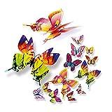 3D Schmetterlinge Doppelfl�gel Effekt Blumen 12er Set Dekoration Wandtattoo,Schmetterlinge Wanddekoration mit Magnetzur Fixierung (bunt A) Bild