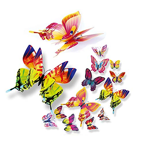 Clearance Sale! Artwork Wall Stickers,12 Pcs 3D Hollow Out Butterfly Home Decoration Stickers for Fridge/Kitchen / Bathrooms/Living Rooms/Bedrooms Removable