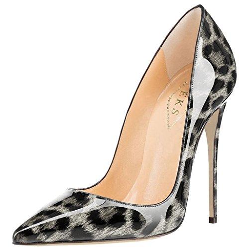 EKS Damen Spitz High Heels Kleid-Partei Pumps Grau Leopard