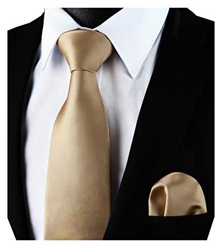 Enlision Einfarbiges Krawatten und Einstecktuchset in Champagner fur Herren