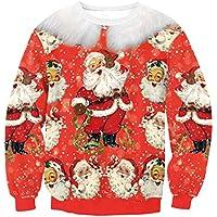 FOOBRTOPOO Novedad Navidad Sudadera con Cuello Redondo de Navidad Sudadera con Estampado de Navidad de Santa Claus Otoño Invierno Outwear Tops Manga Larga Sport Jumpers Blusa -S