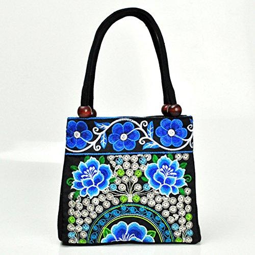 Due tasche borse ricamo–Memorecool vari modelli di legno perline Decor ragazze estate Materiale di alta qualità borsa purple2 blue4