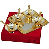 Silver And Gold Plated Floral Shaped Brass Bowl - 9 Pcs Set