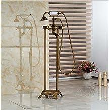 Gowe Messing antik freistehend Zwei Griff Badewanne Filler Dual Griffe Badewanne Armatur Wasserhahn Armaturen