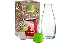 Bouteille en verre 0,3 litre de Neuronade® I 100% sans BPA I Verre borosilicate solide pour les déplacements (travail, études, sport) I Bouteille pratique de forme Retap avec bouchon en plastique