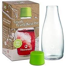 Botella de cristal 0,3 litros de Neuronade® | 100% sin BPA (sin plastificantes) | Estable para viajes (Cristal de borosilicato Oficina, Estudiar, deportes) | práctica botella de cristal en retap de diseño con tapa