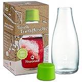 Trinkflasche aus Glas 0,3 Liter von Neuronade I stabiles Borosilikatglas & 100% BPA frei I praktische Glasflasche für unterwegs im Retap Design, inkl. Deckel