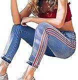Tomatoa-Damen jeans Denim Jeans Frauen Hohe Taille Hosen Freizeithose Jeans Streetwear Hose Casual Sweathose mit Seitenstreifen Jeans Blau, S - L