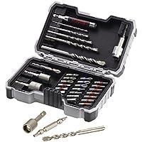Bosch 2607017326 Forets et embouts de vissage jeu de 35 pièces ph1/ ph2/ ph3/ pz1/ pz2/ pz3/ sl3/ sl4/ sl5/ sl6/ h3/ h4/ h5/ h6/ t10/ t15/ t20/ t20/ t25/ t27/ t30/ t40