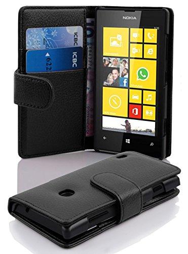 Cadorabo Coque pour Nokia Lumia 520, Noir DE Jais Fermoire Magnétique Housse de Protection Etui Portefeuille Case Cover pour Nokia Lumia 520 - Stand Horizontal et Fente pour Carte Poche Folio