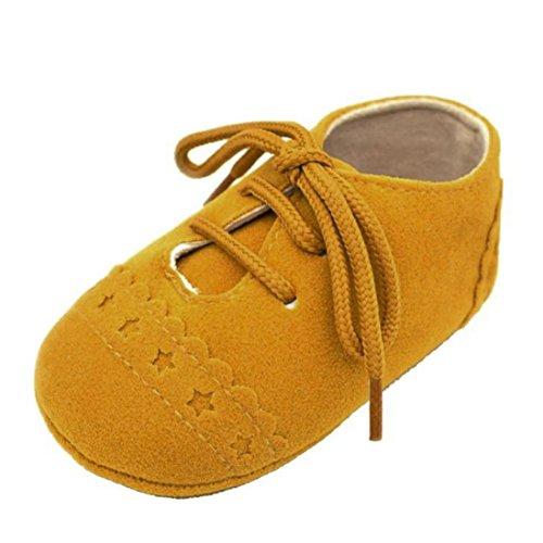FNKDOR Baby Jungen Mädchen Schuhe Lauflernschuhe Krabbelschuhe für 0-18 Monate (6-12 Monate, Gelb)