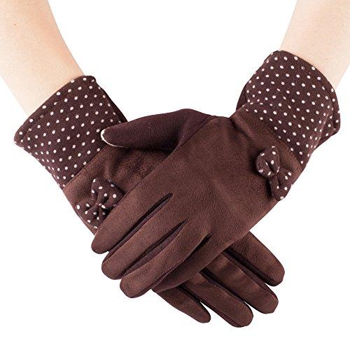 Collection de gants chauds pour écran tactile pour femme, dessus en daim et pois sur les poignets Style 04
