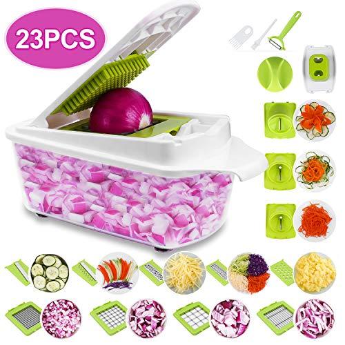 Sedhoom 23 in 1 Gemüseschneider, Zwiebel Zerkleiner, Edelstahl Klingen, Obst und Gemüseschneider Zwiebelschneider, Käse Cutter, Ideal zum Hobeln von Obst und Gemüse (MEHRWEG)