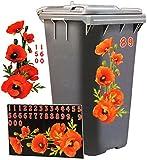 Aufkleber für Mülltonne - ' Mohnblumen - Blüten ' - 31 tlg. Set - incl. Zahlen - Mülltonnenaufkleber / Mülltonnensticker - Sticker _ wetterfest & wasserfest - Mülltonnen / Mülleimer - Blumen Blüte - roter Mohn - Blumenranke