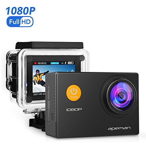 Apeman Action Sport-Kamera 1080P HD 12MP Cam 170Ultra-Weitwinkel, Wasserdicht, mit Montage Zubehör Kit für Radfahren Schwimmen Klettern Tauchen