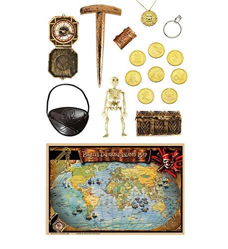 xus Piraten Zubehör Schatz-Truhe Münzen Kompass Augenklappe Kette Welt-Karte Kompass Ohrring Pflock Skelett ()