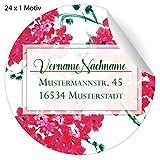 24 florale, Custom Adress Aufkleber auf edlen Blüten, MATTE Papier Sticker mit ihrem Text nach Wunsch universal Etiketten, Namensschilder für Tischdeko, Schule, Pakete, Briefe (4,5cm)