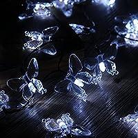 LEDMOMO Guirnalda Luminosa Cadena de Luces Solar Exterior Impermeable 20 LED Mariposa Decoración 4.5m Luz Blanca Fresca
