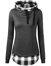 Djt Femme Sweat-Shirt Longue A Capuche 2 en 1 a Carreaux Tunique